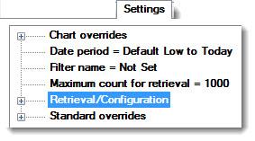Retrieval/Configuration settings for SPC retrievals