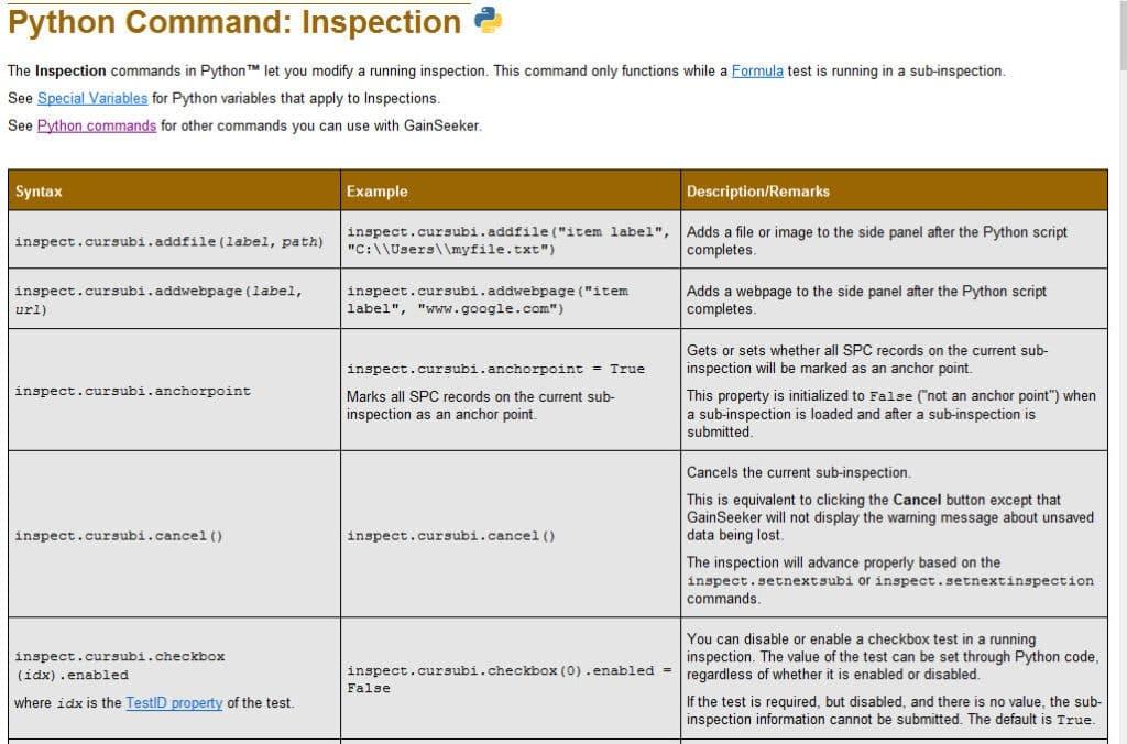 Sample GainSeeker Python Scripts Inspection Commands